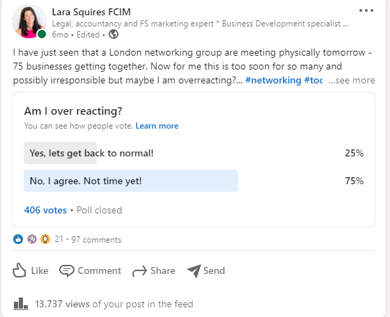 are you scared to post on LinkedIn - Lara's poll