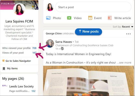 Lara's LinkedIn profile views